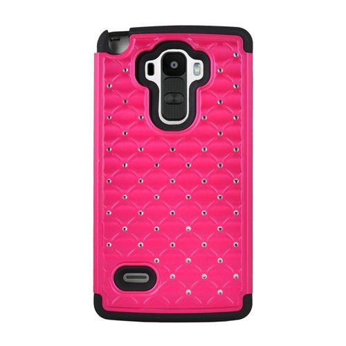 Insten Hybrid Hard PC/Silicone Case With Diamond For LG G Stylo LS770/G Vista 2, Hot Pink/Black