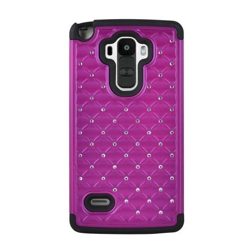 Insten Hybrid Hard PC/Silicone Case With Diamond Compatible LG G Stylo LS770/G Vista 2, Purple/Black