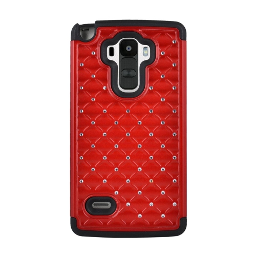 Insten Hybrid Hard PC/Silicone Case With Diamond Compatible LG G Stylo LS770/G Vista 2, Red/Black