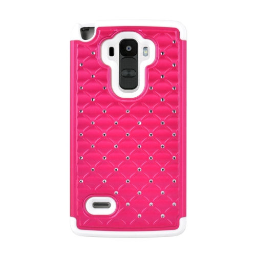 Insten Hybrid Hard PC/Silicone Case With Diamond Compatible LG G Stylo LS770/G Vista 2, Pink/White