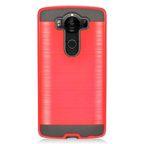 Insten Dual Layer Hybrid Rubberized Hard PC/Silicone Case Cover Compatible With LG V10, Red/Black