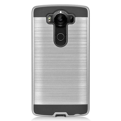 Insten Dual Layer Hybrid Rubberized Hard PC/Silicone Case Cover Compatible With LG V10, Silver/Black