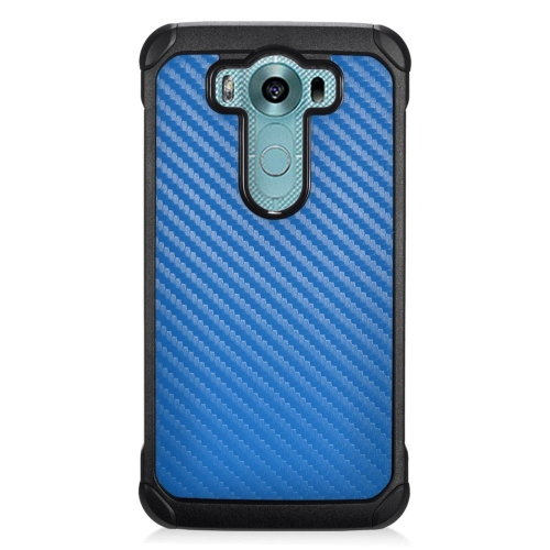 Insten Carbon Fiber Hybrid Rubberized Hard PC/Silicone Case For LG V10, Blue/Black