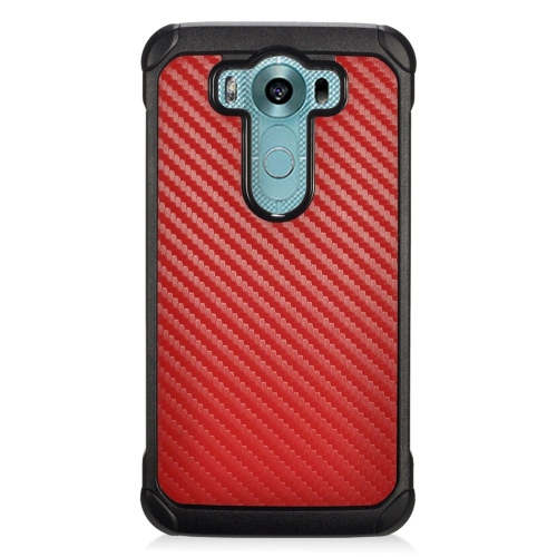 Insten Carbon Fiber Hybrid Rubberized Hard PC/Silicone Case For LG V10, Red/Black