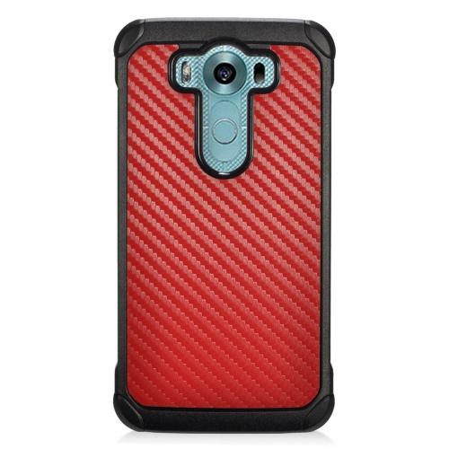 Insten Carbon Fiber Hybrid Rubberized Hard PC/Silicone Case For LG V10, Red/Black