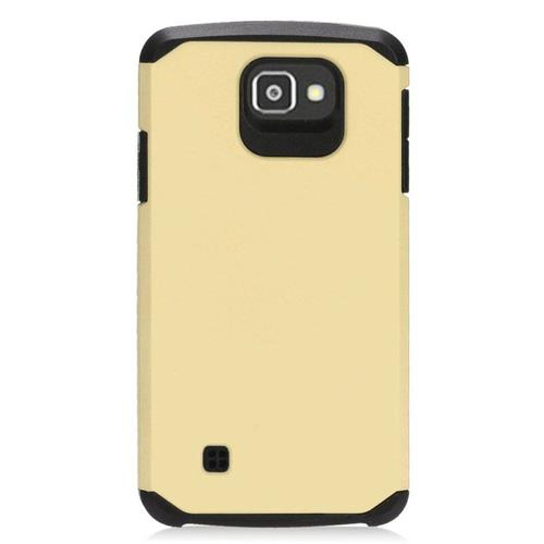 Insten Hybrid Rubberized Hard PC/Silicone Case For LG Optimus Zone 3/Spree, Gold/Black