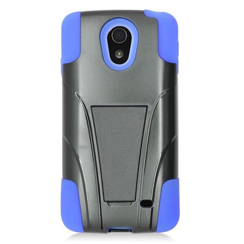 Insten Dual Layer Hybrid Stand PC/Silicone Case Cover Compatible With LG Lucid 3 VS876, Black/Blue