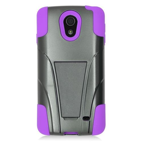 Insten Dual Layer Hybrid Stand PC/Silicone Case Cover Compatible With LG Lucid 3 VS876, Black/Purple