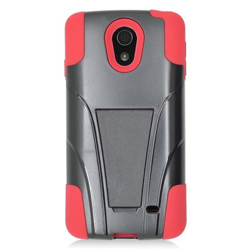Insten Dual Layer Hybrid Stand PC/Silicone Case Cover Compatible With LG Lucid 3 VS876, Black/Red