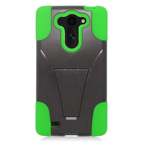 Insten Dual Layer Hybrid Stand PC/Silicone Case Cover Compatible With LG G VISTA, Black/Green