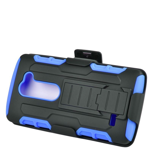 Insten Car Armor Hybrid PC/Silicone Holster Case For LG Destiny/Risio/Tribute 2, Black/Blue