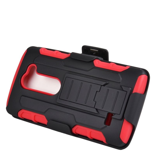 Insten Hybrid PC/Silicone Holster Case For LG Destiny/Power/Risio/Tribute 2, Black/Red