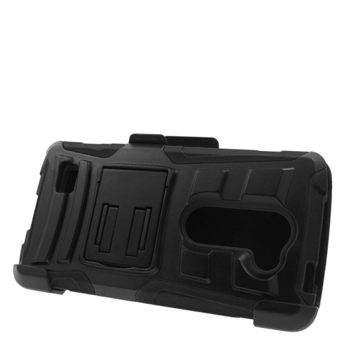 Insten Hybrid PC/Silicone Holster Case For LG Destiny/Leon 4G LTE H340N/Power/Risio/Tribute 2, Black