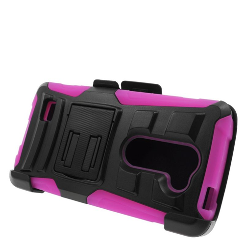 Insten Hybrid PC/Silicone Holster Case For LG Destiny/Power/Risio/Tribute 2, Black/Hot Pink