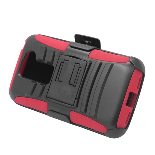Insten Hybrid Stand PC/Silicone Holster Case For LG G2 Mini D620, Black/Red