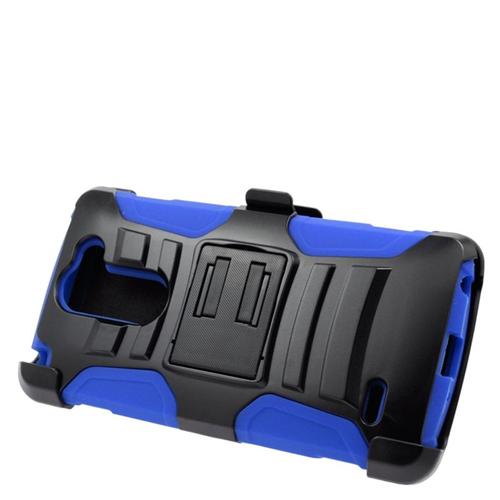 Insten Hybrid Stand PC/Silicone Holster Case For LG G3 Stylus, Black/Blue