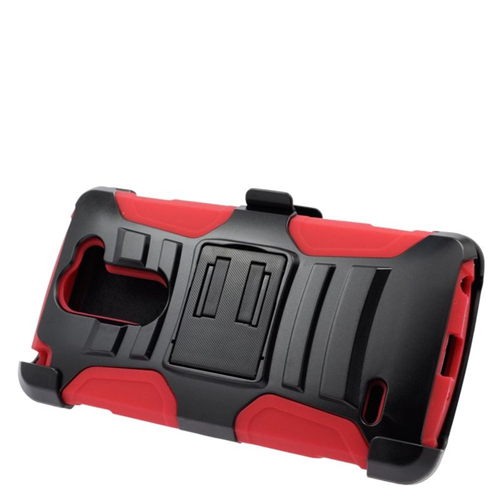 Insten Hybrid Stand PC/Silicone Holster Case For LG G3 Stylus, Black/Red