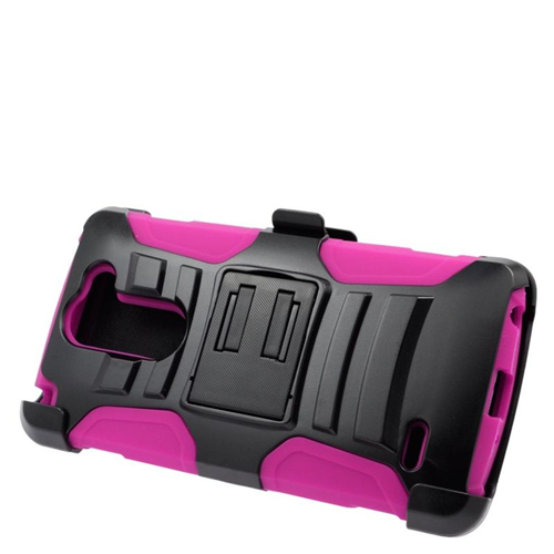 Insten Hybrid Stand PC/Silicone Holster Case For LG G3 Stylus, Black/Hot Pink