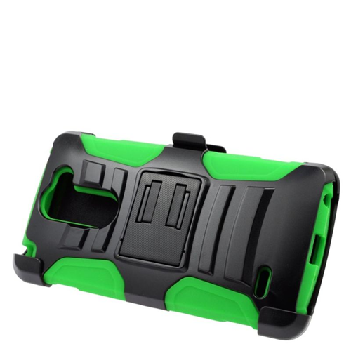 Insten Hybrid Stand PC/Silicone Holster Case For LG G3 Stylus, Black/Green