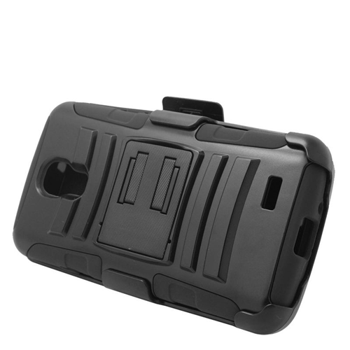 Insten Dual Layer Hybrid Stand PC/Silicone Holster Case Cover Compatible With LG F70 D315, Black