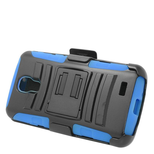 Insten Hybrid Stand PC/Silicone Holster Case For LG F70 D315, Black/Blue