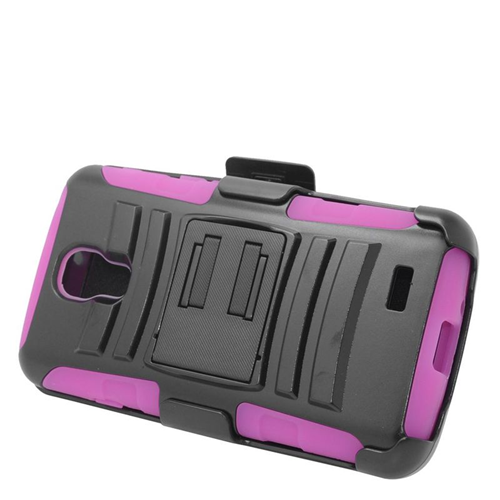 Insten Hybrid Stand PC/Silicone Holster Case For LG F70 D315, Black/Hot Pink
