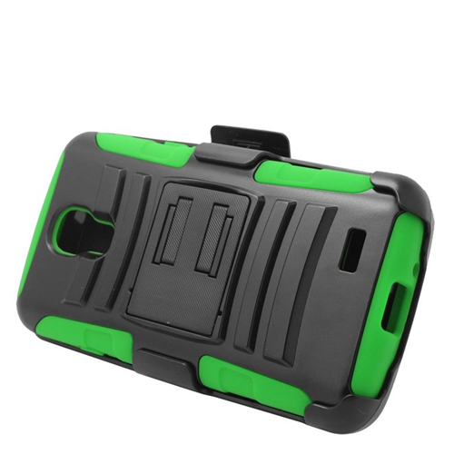 Insten Hybrid Stand PC/Silicone Holster Case For LG F70 D315, Black/Green