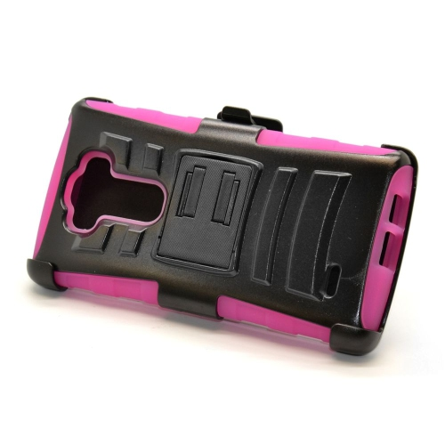 Insten Hybrid Stand PC/Silicone Holster Case For LG G Flex 2, Black/Hot Pink