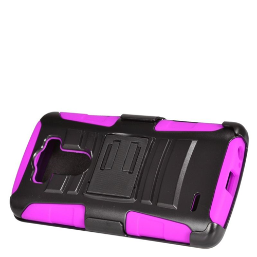 Insten Dual Layer Hybrid Stand PC/Silicone Holster Case Cover Compatible With LG G3, Black/Hot Pink