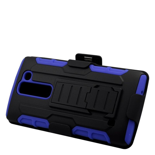 Insten Hybrid Stand PC/Silicone Holster Case For LG Escape 2 H443 / H445, Black/Blue