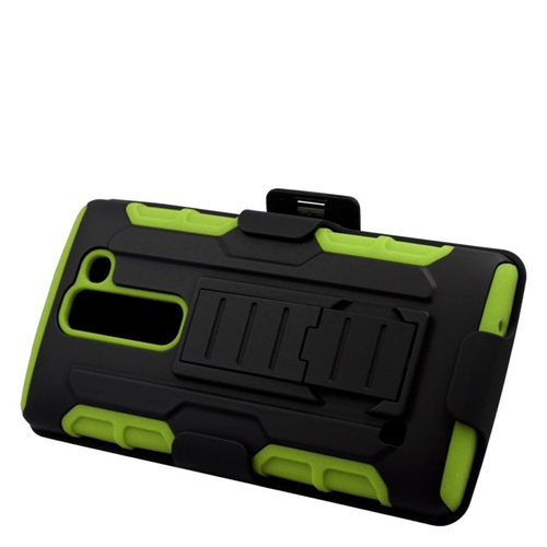 Insten Hybrid Stand PC/Silicone Holster Case For LG Escape 2 H443 / H445, Black/Green