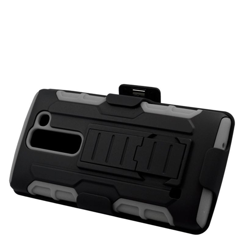 Insten Hybrid Stand PC/Silicone Holster Case For LG Escape 2 H443 / H445, Black/Gray