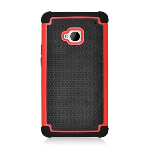 Insten Hard Dual Layer Silicone Case For HTC One M7, Black/Red
