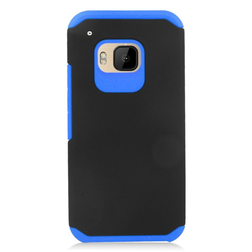 Insten Hard Dual Layer Rubber Silicone Case For HTC One M9, Black/Blue