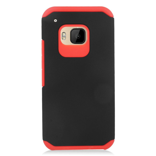 Insten Hard Hybrid Rubber Coated Silicone Case For HTC One M9, Black/Red