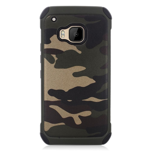 Insten Camouflage Hard Hybrid Rubber Coated Silicone Case For HTC One M9, Green/Black