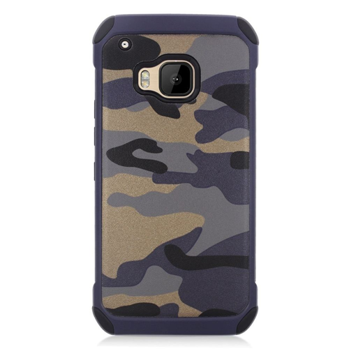 Insten Camouflage Hard Hybrid Rubber Silicone Case For HTC One M9, Gray/Black