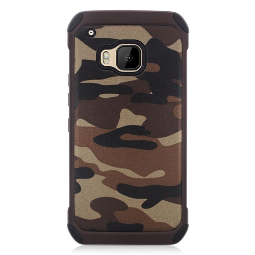 Insten Camouflage Hard Dual Layer Rubber Coated Silicone Cover Case For HTC One M9, Brown/Black