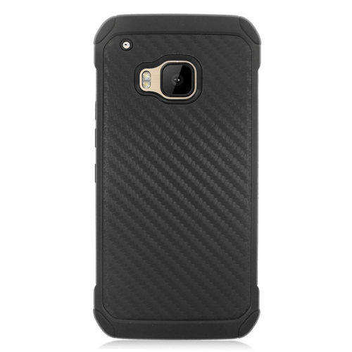 Insten Carbon Fiber Hard Dual Layer Rubber Silicone Case For HTC One M9, Black