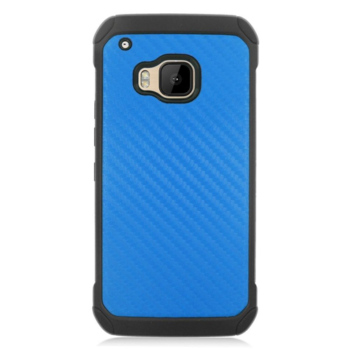 Insten Carbon Fiber Hard Dual Layer Rubber Silicone Case For HTC One M9, Dark Blue/Black