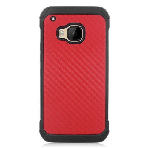 Insten Carbon Fiber Hard Hybrid Silicone Cover Case For HTC One M9, Red/Black