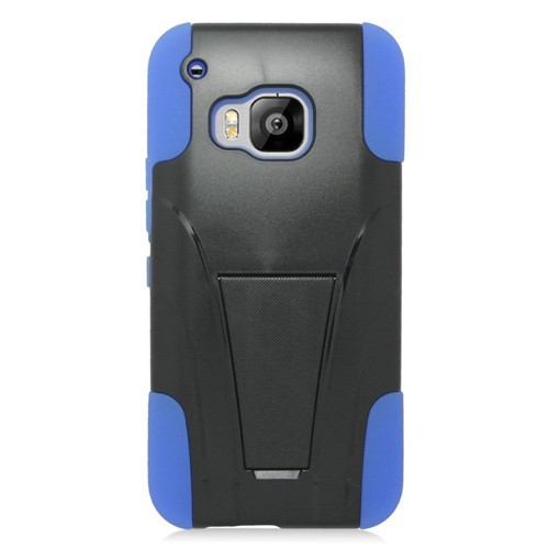 Insten Hard Hybrid Plastic Silicone Cover Case w/stand For HTC One M9, Black/Blue