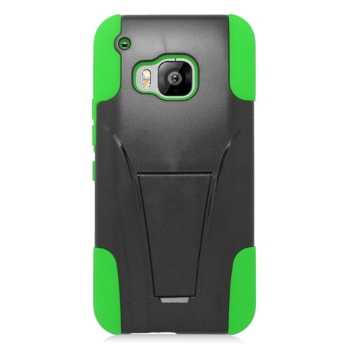 Insten Hard Dual Layer Plastic Silicone Cover Case w/stand For HTC One M9, Black/Green