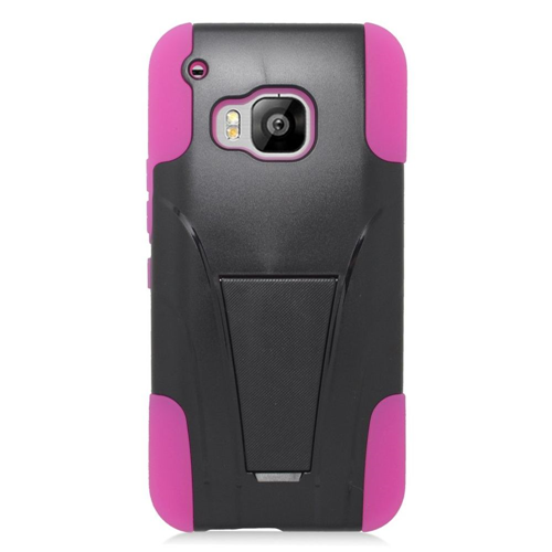 Insten Hard Dual Layer Plastic Silicone Cover Case w/stand For HTC One M9, Black/Hot Pink