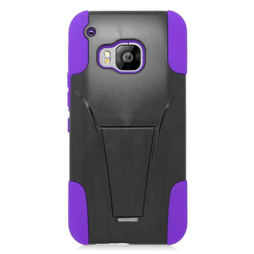 Insten Hard Dual Layer Plastic Silicone Cover Case w/stand For HTC One M9, Black/Purple