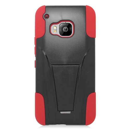 Insten Hard Dual Layer Plastic Silicone Case w/stand For HTC One M9, Black/Red