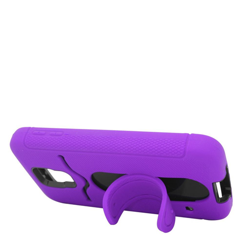 Insten Soft Dual Layer Rubber Hard Case w/stand/card slot For Samsung Galaxy S5, Purple/Black