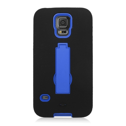 Insten Symbiosis HardRubber Coated Silicone Case w/stand For Samsung Galaxy S5, Black/Blue
