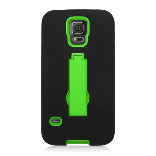 Insten Symbiosis Hard Hybrid Silicone Cover Case w/stand For Samsung Galaxy S5, Black/Green