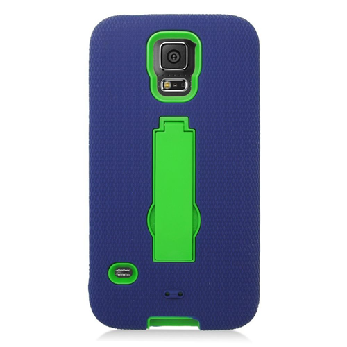 Insten Symbiosis Hard Hybrid Rubberized Silicone Case w/stand For Samsung Galaxy S5, Blue/Green